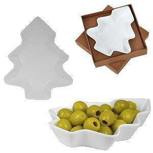 """Тарелка для закусок """"Елочка"""" в подарочной упаковке, 12х14,2х2,5см,фарфор"""