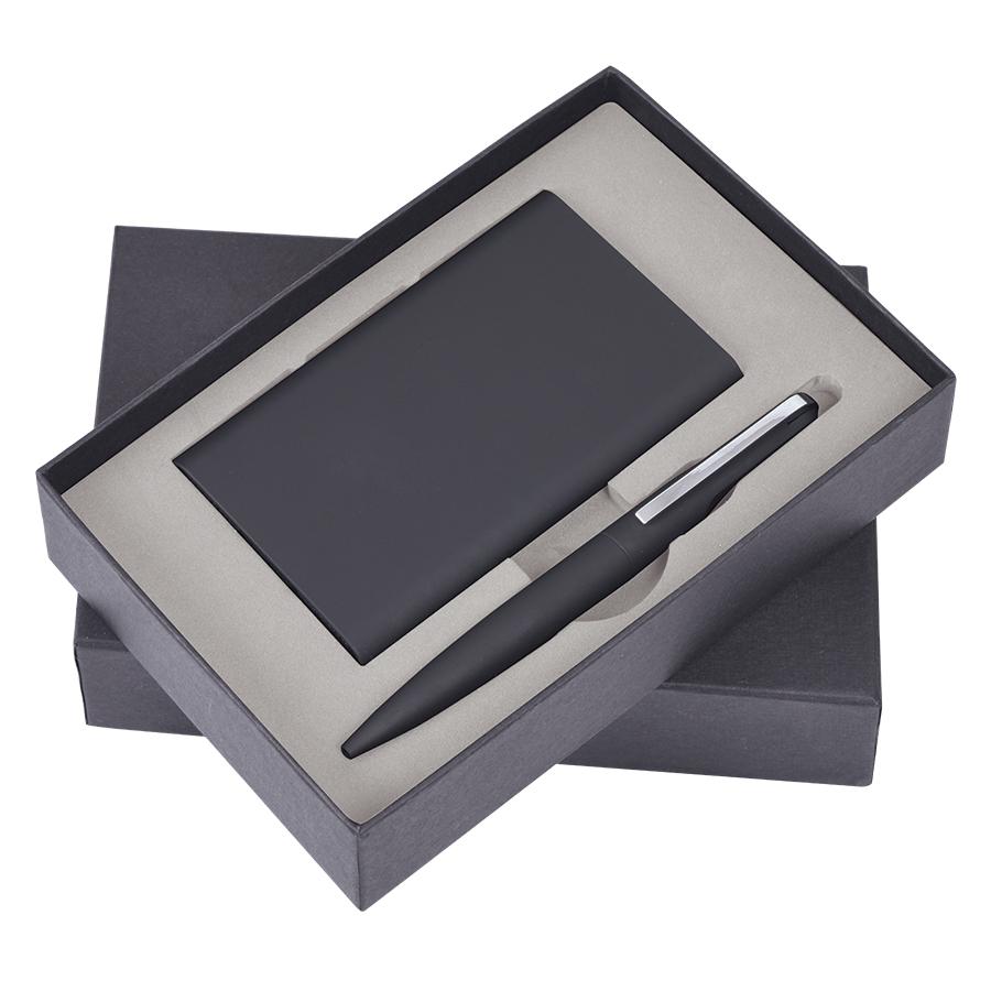 """Набор """"Mirror"""": универсальное зарядное устройство (6000мАh) и ручка, черный, 17,5х11х4см, металл"""