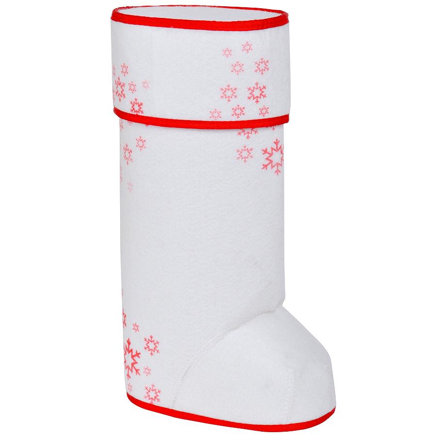 """Упаковка подарочная """"ВАЛЕНОК"""" с крышкой, белый/красный, 35х20 см, войлок, термотрансфер, шеврон"""