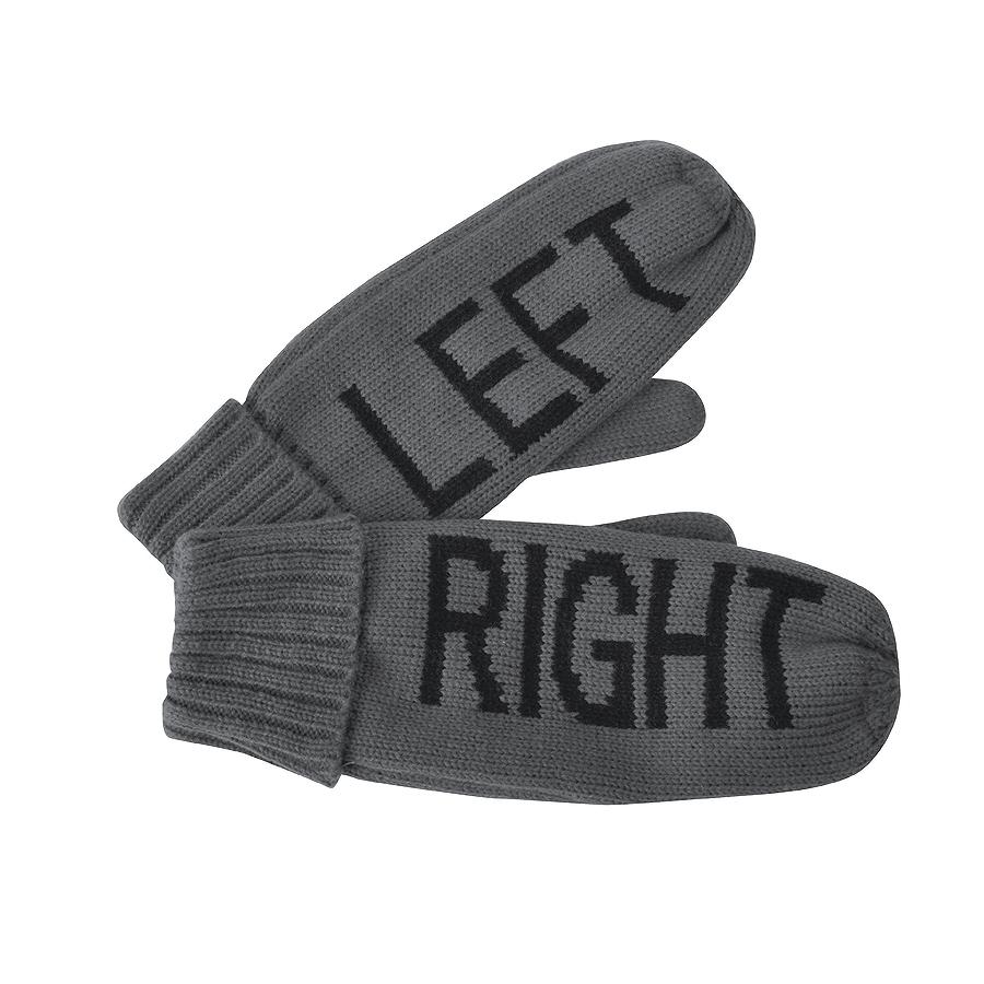 """Варежки """"LEFT&RIGHT"""",  серый, L, акрил/флис внутри,  шеврон"""