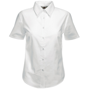 "Рубашка ""Lady-Fit Short Sleeve Oxford Shirt"", белый_XS, 70% х/б, 30% п/э, 130 г/м2"