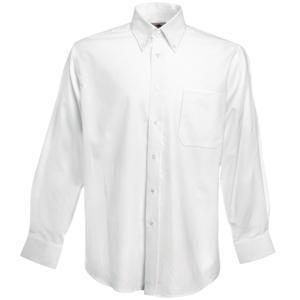 "Рубашка ""Long Sleeve Oxford Shirt"", белый_S, 70% х/б, 30% п/э, 130 г/м2"