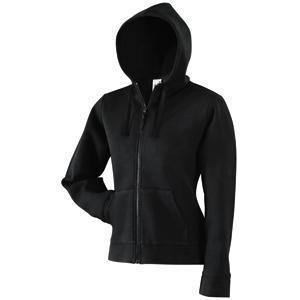 "Толстовка ""Lady-Fit Hooded Sweat Jacket"", черный_XS, 75% х/б, 25% п/э, 280 г/м2"